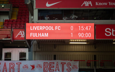 Liverpool's scoreboard during the FA Premier League match between Liverpool FC and Fulham FC at Anfield. Fulham won 1-0 extending Liverpool's run to six consecutive home defeats.