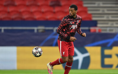 March 10, 2021: Liverpool's Georginio Wijnaldum during the pre-match warm-up before the UEFA Champions League Round of 16 2nd Leg game between Liverpool FC and RB Leipzig at the Puskás Aréna.