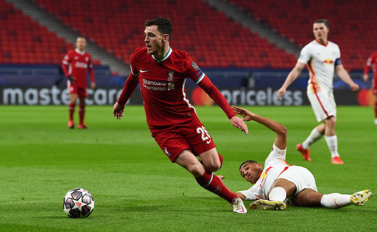 Liverpool's Andy Robertson during the UEFA Champions League Round of 16 2nd Leg game between Liverpool FC and RB Leipzig at the Puskás Aréna