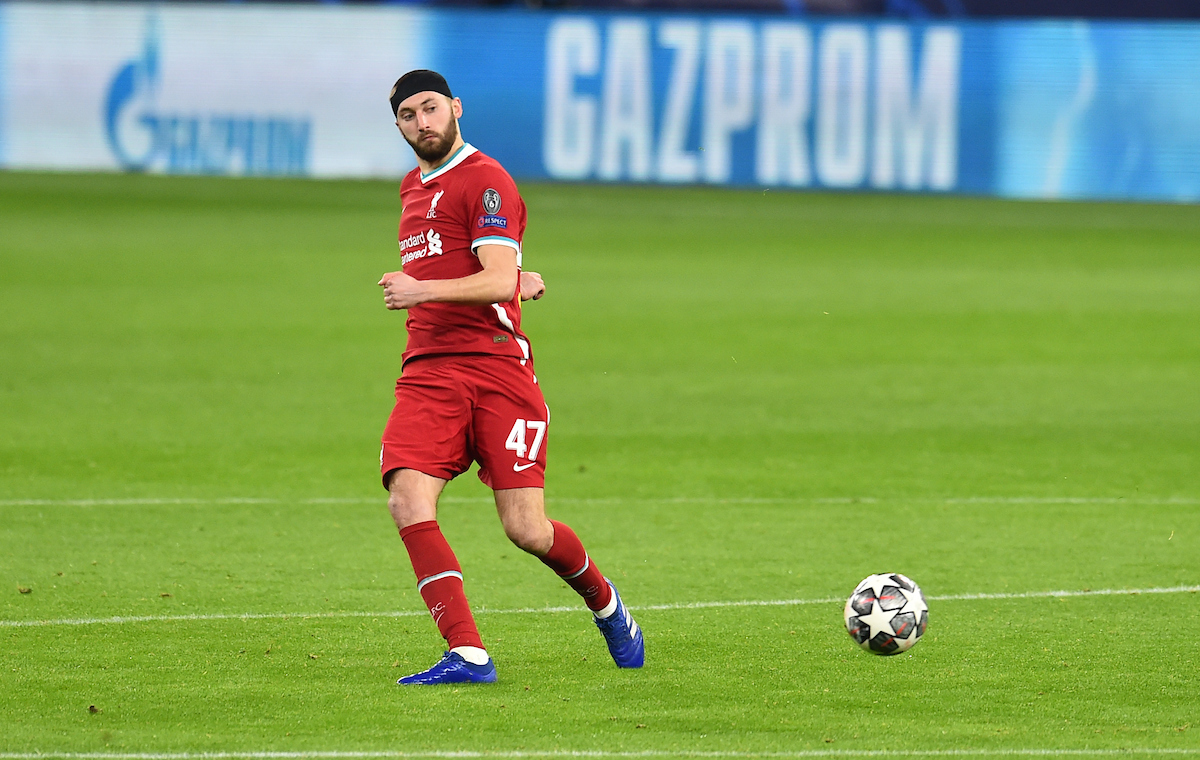 Liverpool's Nathaniel Phillips during the UEFA Champions League Round of 16 2nd Leg game between Liverpool FC and RB Leipzig at the Puskás Aréna