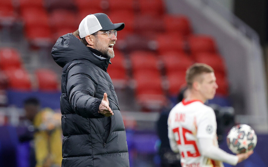 Liverpool's manager Jürgen Klopp during the UEFA Champions League Round of 16 2nd Leg game between Liverpool FC and RB Leipzig at the Puskás Aréna