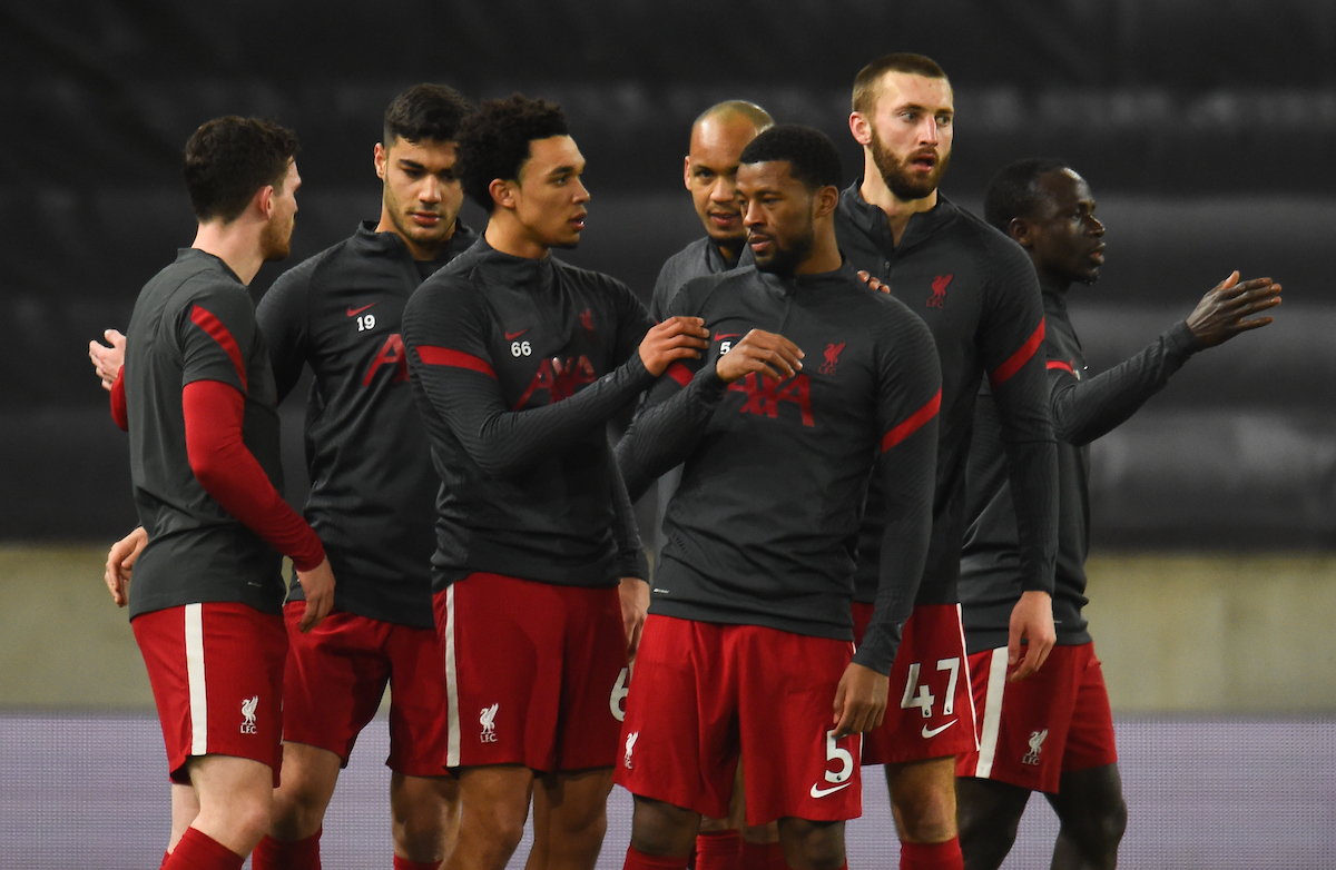Liverpool's Trent Alexander-Arnold (L) and Georginio Wijnaldum during the pre-match warm-up before the FA Premier League match between Wolverhampton Wanderers FC and Liverpool FC at Molineux Stadium. Liverpool won 1-0.