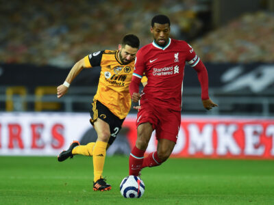 Liverpool's Georginio Wijnaldum during the FA Premier League match between Wolverhampton Wanderers FC and Liverpool FC at Molineux Stadium. Liverpool won 1-0.