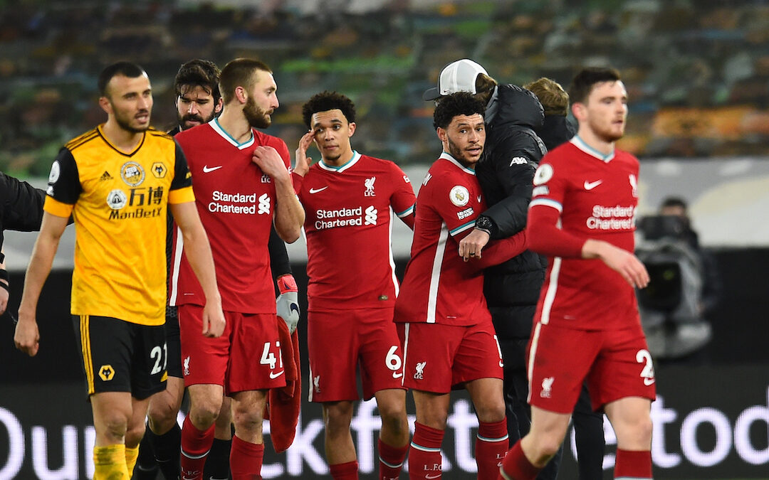 Liverpool players after the Premier League match between Wolves and Liverpool FC at Molineux Stadium