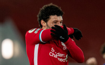 Liverpool's Alex Oxlade-Chamberlain looks dejected at the final whistle during the FA Premier League match between Liverpool FC and Chelsea FC at Anfield