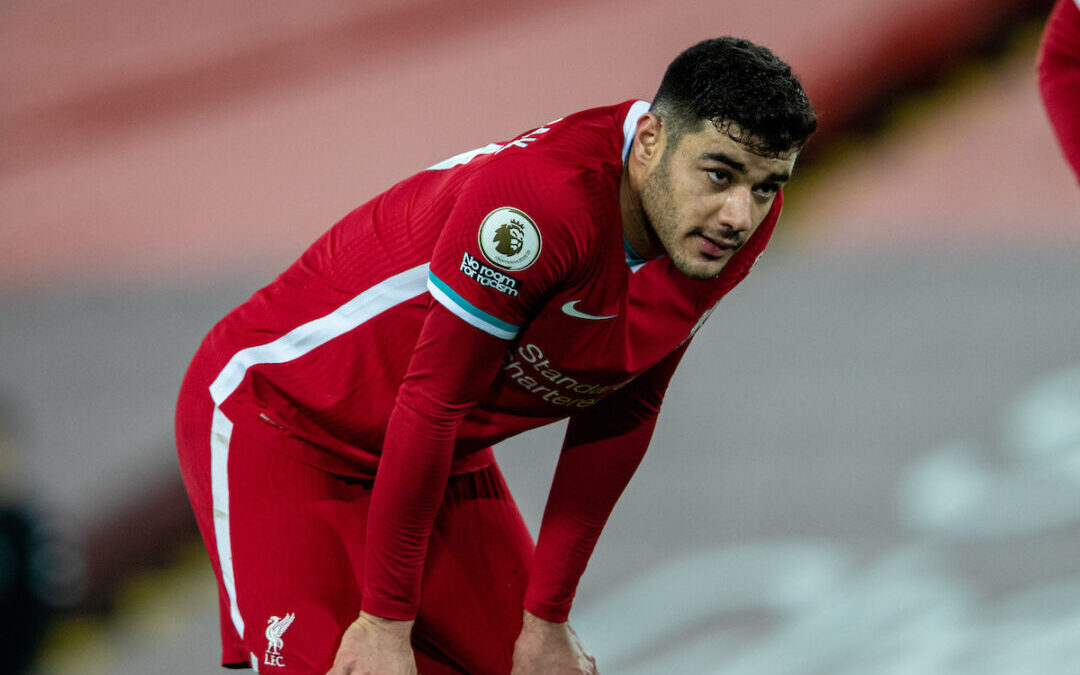 Liverpool's Ozan Kabak during the FA Premier League match between Liverpool FC and Chelsea FC at Anfield