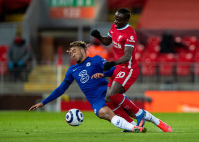Liverpool's Sadio Mané (R) is tackled by Chelsea's Reece James during the FA Premier League match between Liverpool FC and Chelsea FC at Anfield