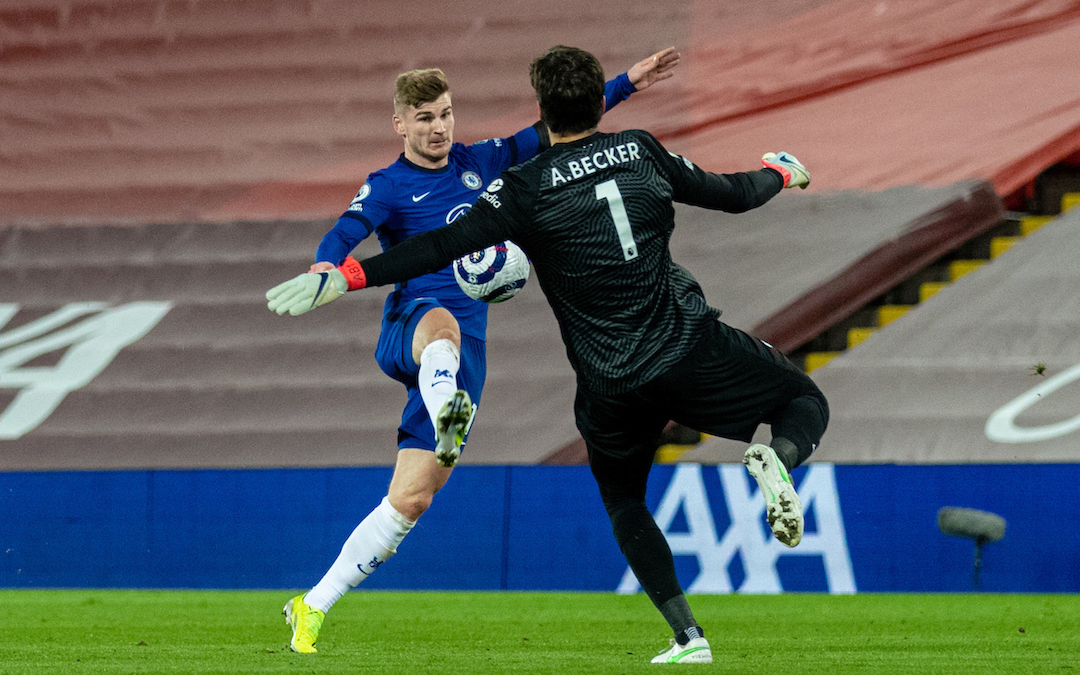 Liverpool 0 Chelsea 1: Timo Werner gets to the ball before Liverpool's goalkeeper Alisson Becker before scoring a goal, which was later disallowed after a VAR review during the FA Premier League match between Liverpool FC and Chelsea FC at Anfield