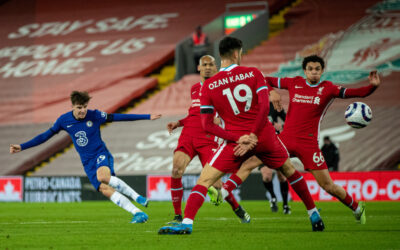 Liverpool 0 Chelsea 1: Mason Mount scores the first goal during the FA Premier League match between Liverpool FC and Chelsea FC at Anfield