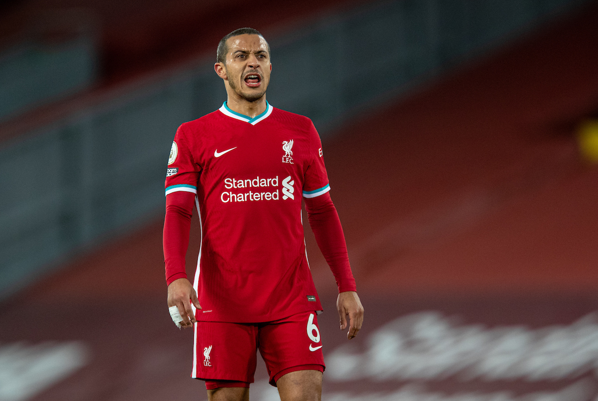 Liverpool's Thiago Alcantara during the FA Premier League match between Liverpool FC and Chelsea FC at Anfield