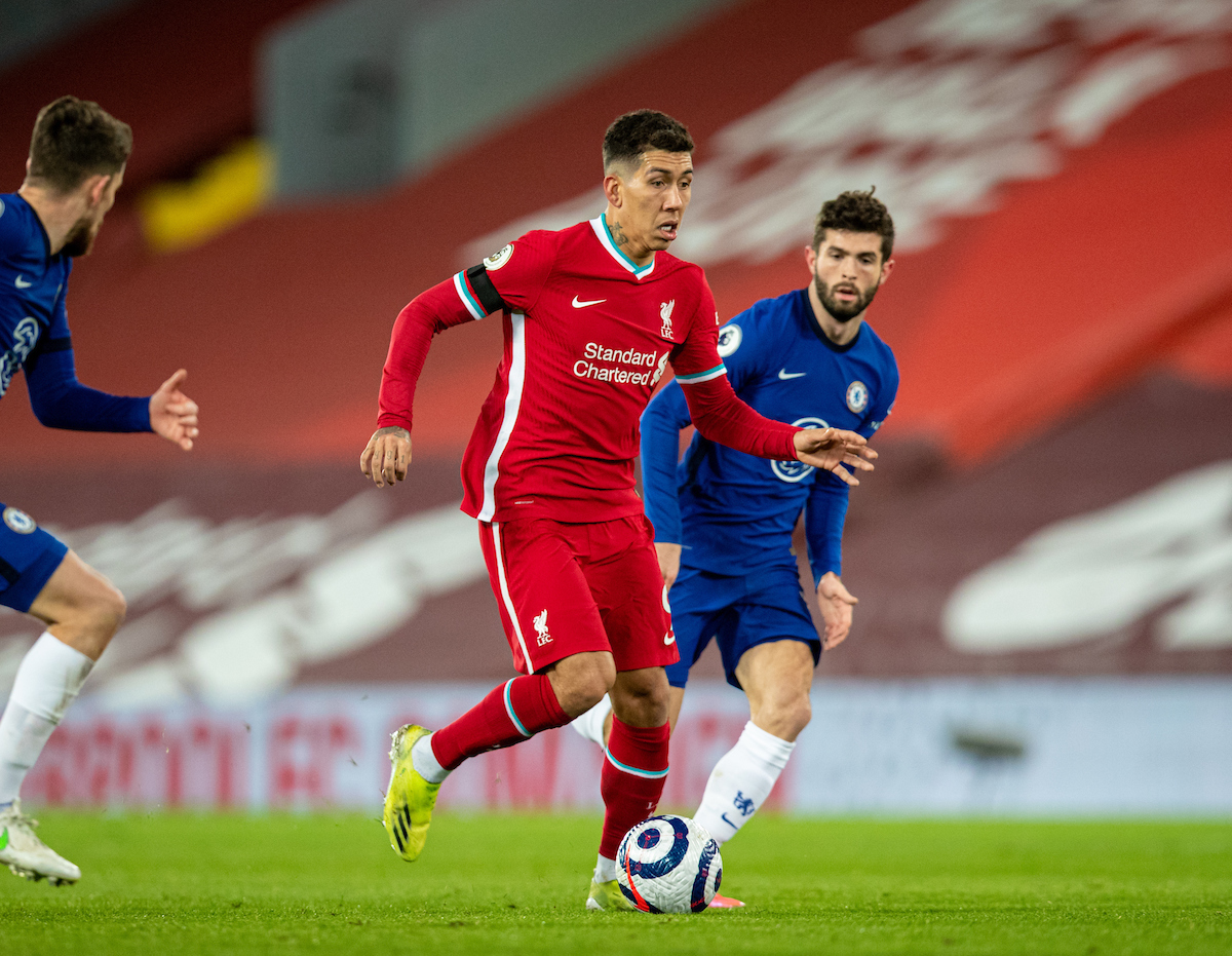 Liverpool's Roberto Firmino during the FA Premier League match between Liverpool FC and Chelsea FC at Anfield