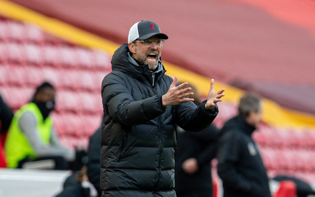 Liverpool's manager Jürgen Klopp reacts during the FA Premier League match between Liverpool FC and Fulham FC at Anfield