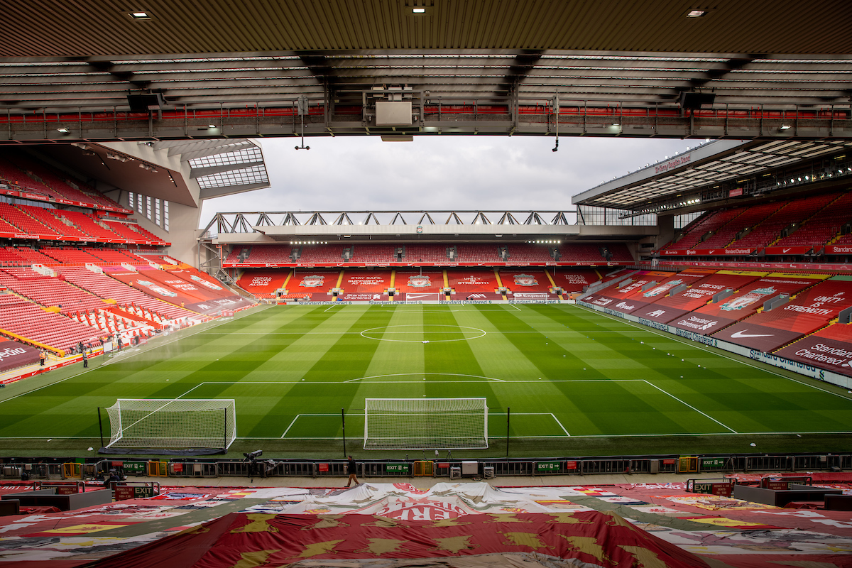 A general view of Anfield as seen from the Spion Kop before the FA Premier League match between Liverpool FC and Fulham FC