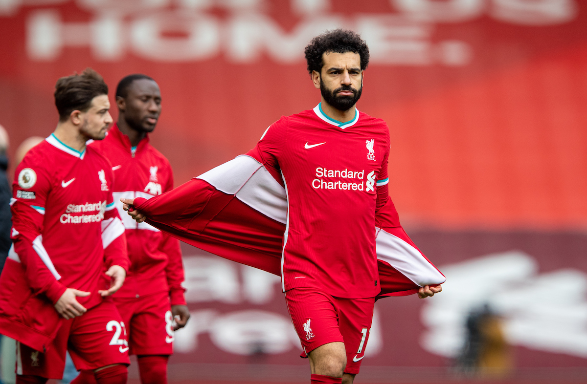 Liverpool's Mohamed Salah before the FA Premier League match between Liverpool FC and Fulham FC at Anfield