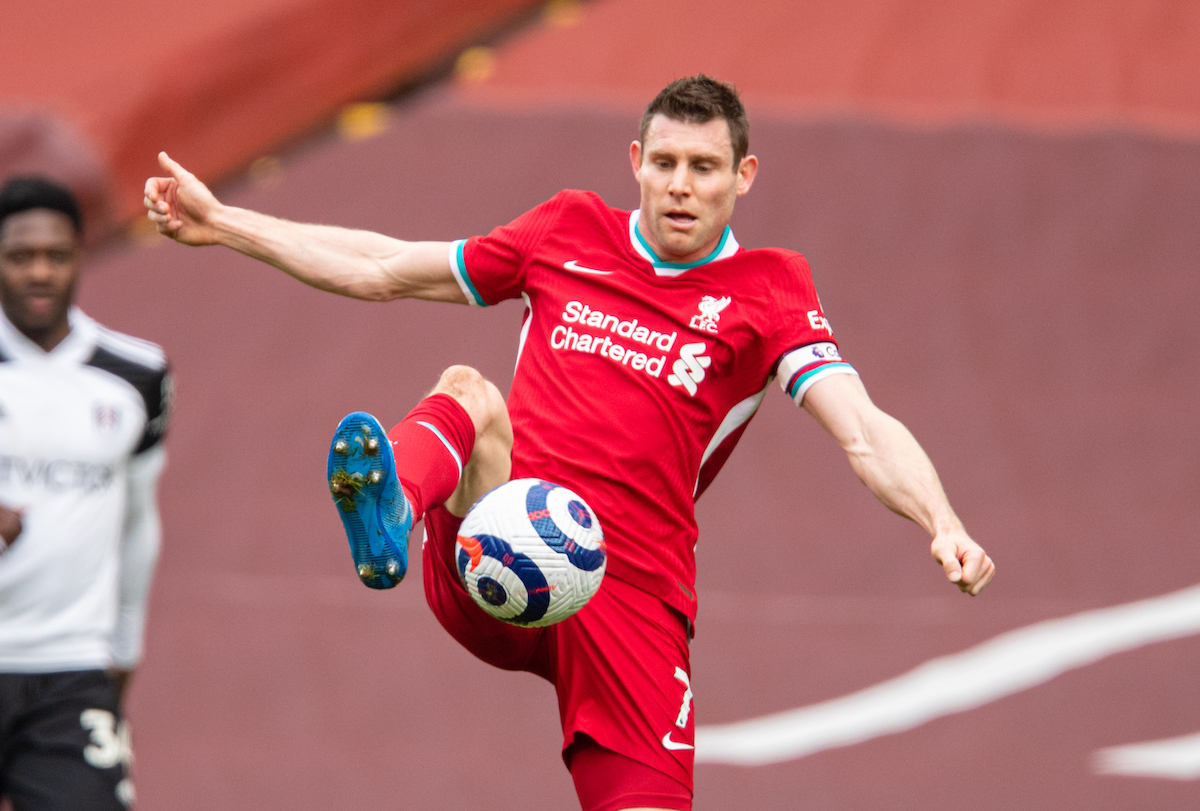 Liverpool's James Milner during the FA Premier League match between Liverpool FC and Fulham FC at Anfield
