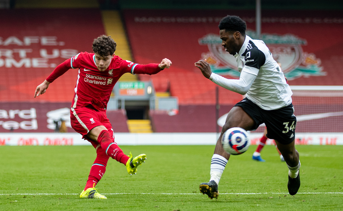 Liverpool's Neco Williams shoots during the FA Premier League match between Liverpool FC and Fulham FC at Anfield