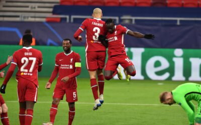 Liverpool's Sadio Mané (R) celebrates with team-mate Fabio Henrique Tavares 'Fabinho' after scoring the second goal during the UEFA Champions League Round of 16 2nd Leg game between Liverpool FC and RB Leipzig at the Puskás Aréna