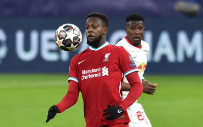 Liverpool's substitute Divock Origi during the UEFA Champions League Round of 16 2nd Leg game between Liverpool FC and RB Leipzig at the Puskás Aréna