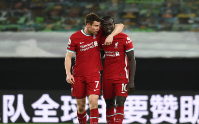 James Milner and Sadio Mane after the Premier League match between Wolves and Liverpool FC at Molineux Stadium