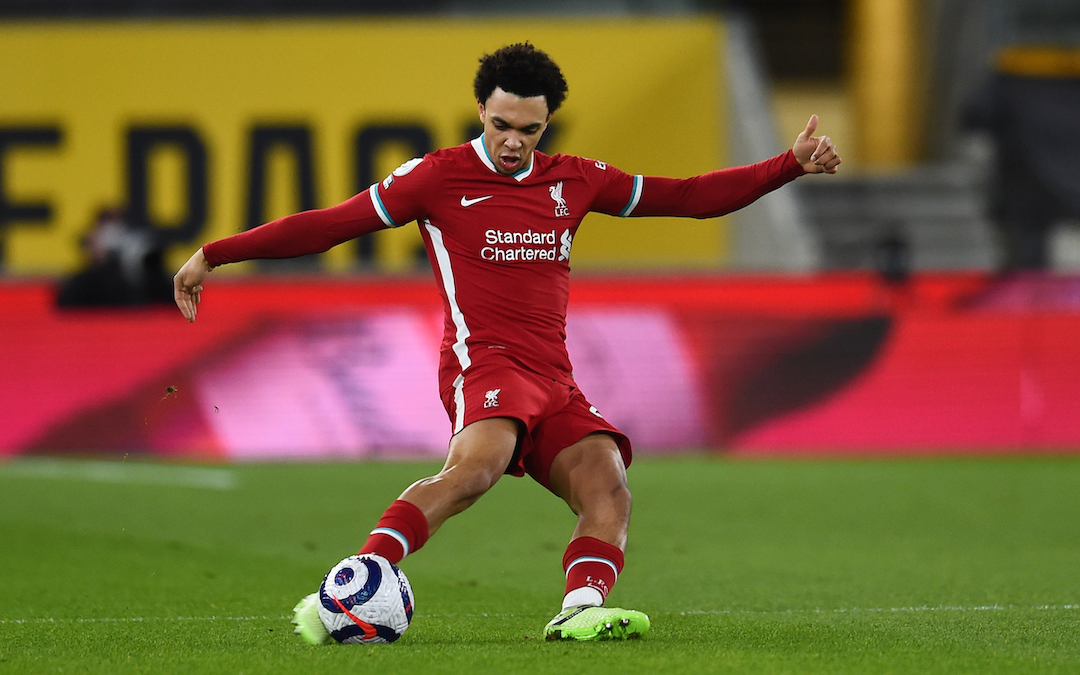 Trent Alexander-Arnold during the Premier League match between Wolves and Liverpool FC at Molineux Stadium