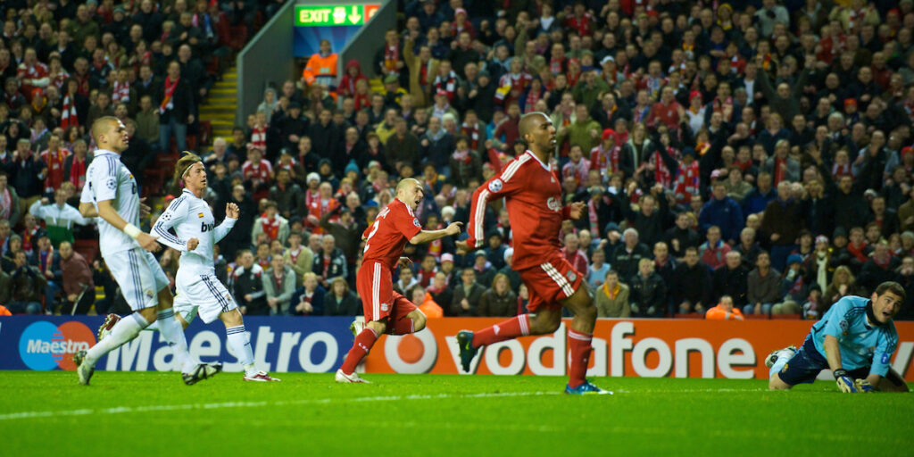 Andrea Dossena scores against Real Madrid at Anfield