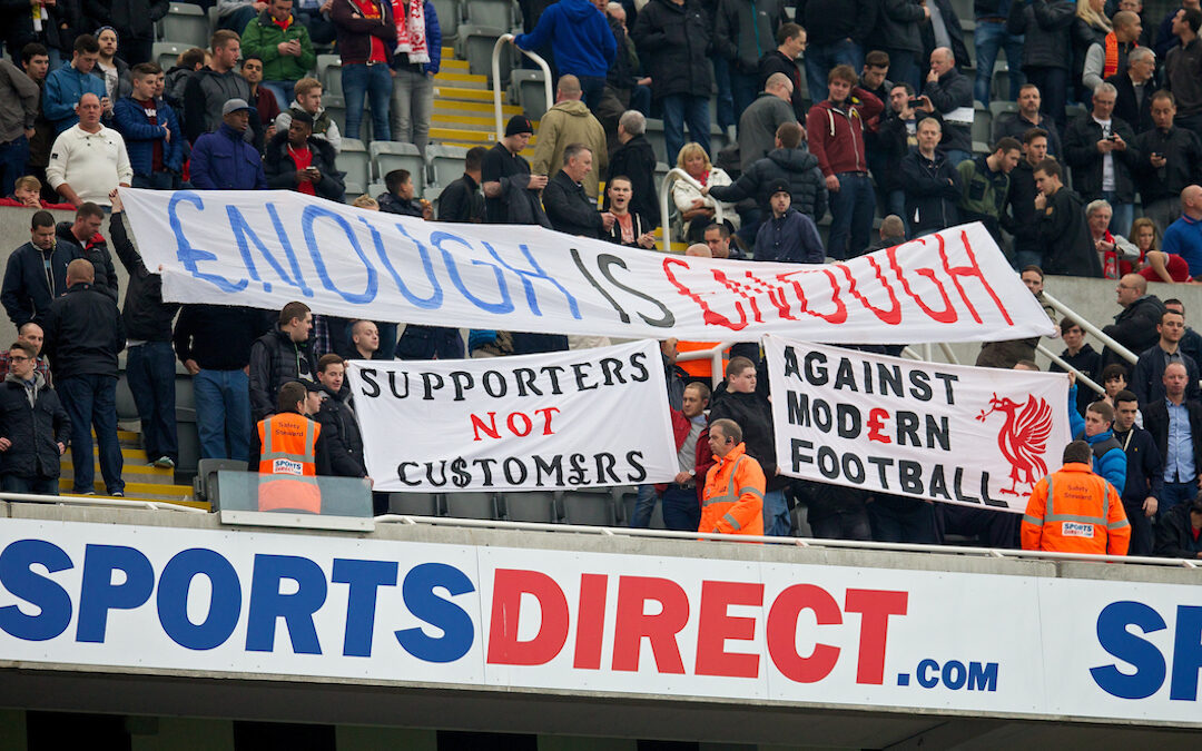 Liverpool fans protest against ticket prices before the Premier League match against Newcastle United at St. James' Park.