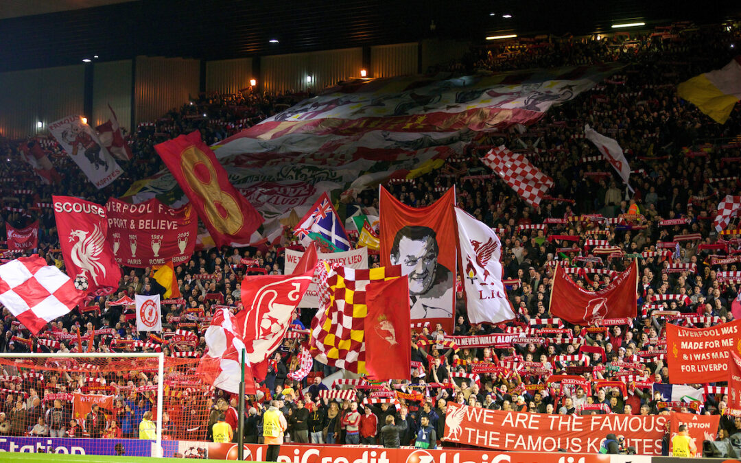 Wednesday, October 22, 2014: Liverpool supporters on the Spion Kop during the UEFA Champions League Group B matchagainst Real Madrid CF at Anfield.