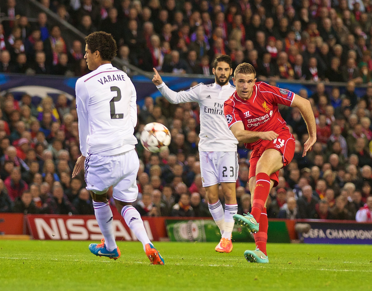 Wednesday, October 22, 2014: Liverpool's Jordan Henderson in action against Real Madrid CF during the UEFA Champions League Group B match at Anfield.