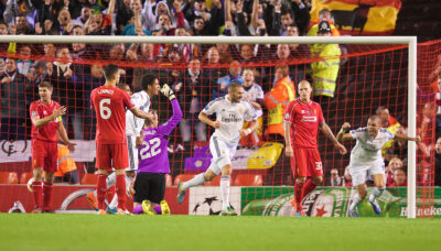 Wednesday, October 22, 2014: Real Madrid CF's Karim Benzema celebrates scoring the third goal against Liverpool during the UEFA Champions League Group B match at Anfield.