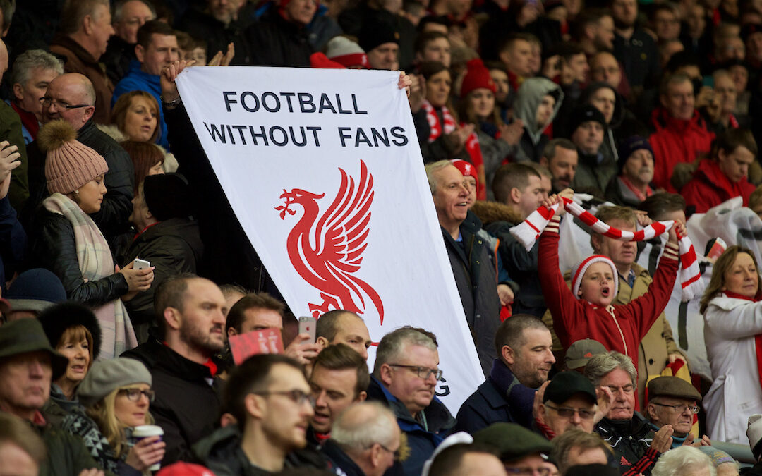 """Saturday, February 6, 2016: Liverpool supporters protest with a banner """"Football without fans is nothing"""" group before the Premier League match against Sunderland at Anfield."""