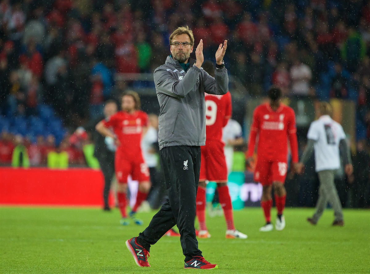 Liverpool's manager Jürgen Klopp looks dejected as Sevilla win 3-1 during the UEFA Europa League Final at St. Jakob-Park