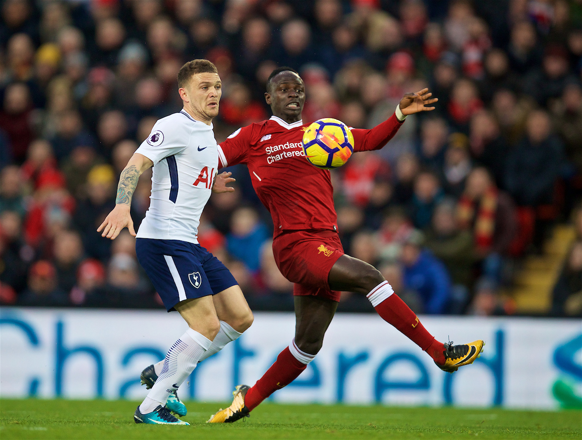 Sunday, February 4, 2018: Liverpool's Sadio Mane and Tottenham Hotspur's Kieran Trippier during the FA Premier League match between Liverpool FC and Tottenham Hotspur FC at Anfield.