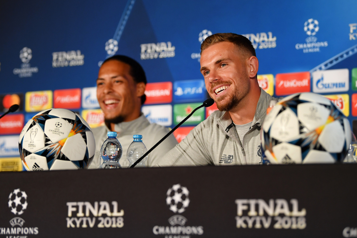 KIEV, UKRAINE - Friday, May 25, 2018: Liverpool's Virgil van Dijk and captain Jordan Henderson during a pre-match press conference at the NSC Olimpiyskiy ahead of the UEFA Champions League Final match between Real Madrid CF and Liverpool FC.