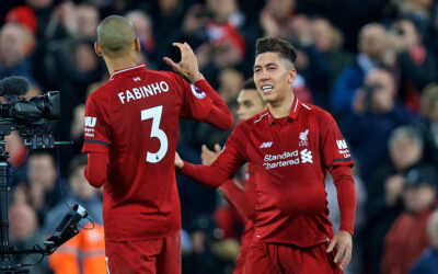 Liverpool's hat-trick hero Roberto Firmino celebrates after the 5-1 victory during the FA Premier League match between Liverpool FC and Arsenal FC at Anfield