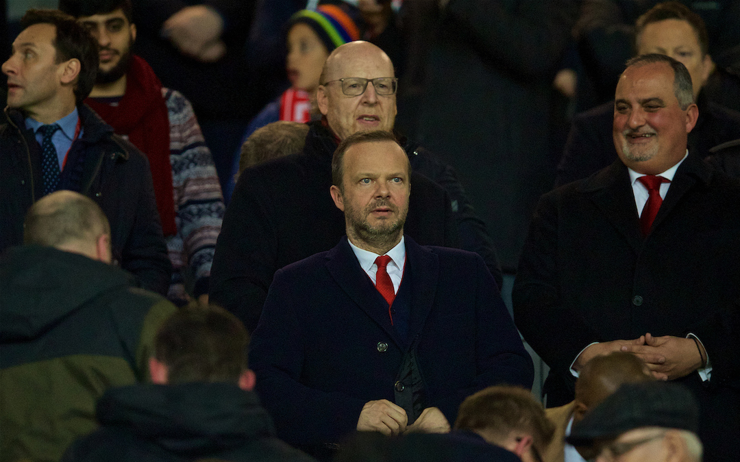 February 12, 2019: Manchester United's chief executive Edward Woodward (lower) and owner Avram Glazer (top) during the UEFA Champions League Round of 16 1st Leg match between Manchester United FC and Paris Saint-Germain at Old Trafford.