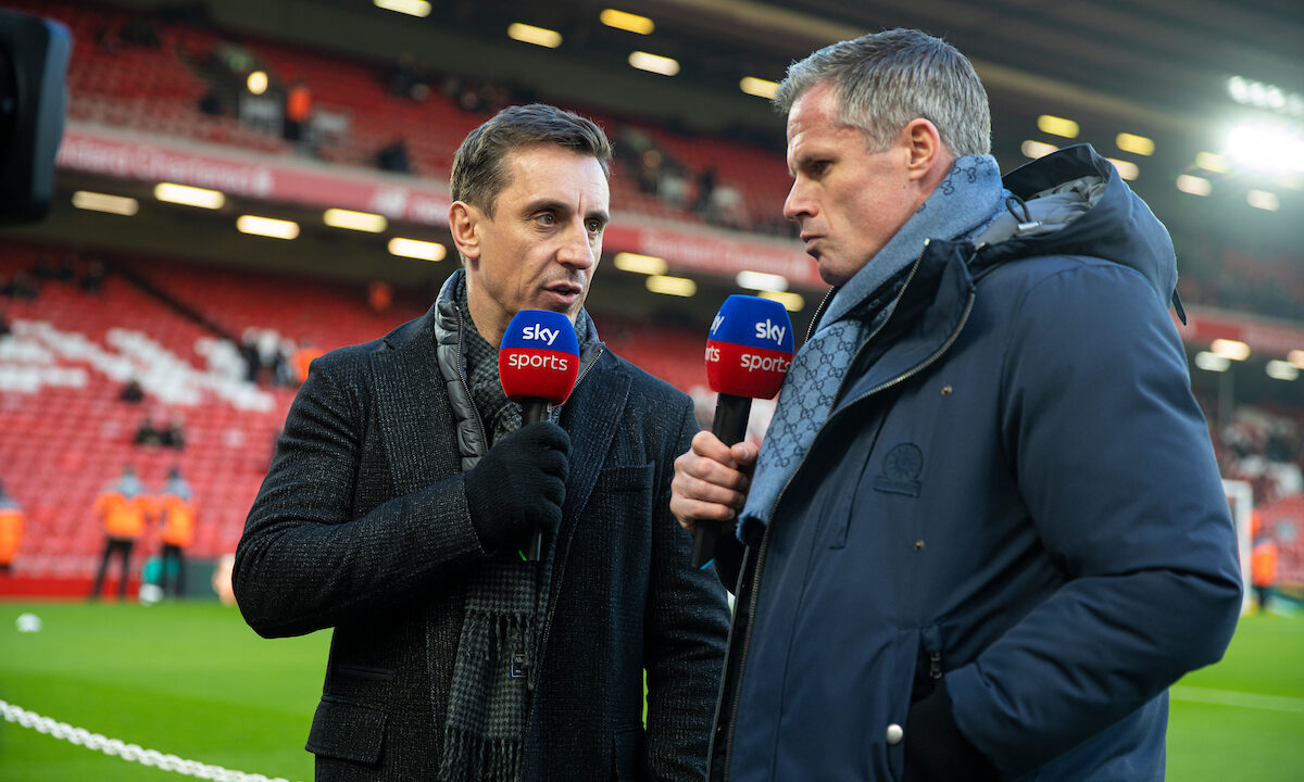 Former Liverpool player Jamie Carragher (R) and former Manchester United player Gary Neville (L) working for Sky Sports before the FA Premier League match between Liverpool FC and Manchester United FC at Anfield.