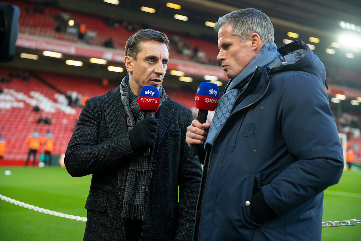 Sunday, January 19, 2020: Former Liverpool player Jamie Carragher (R) and former Manchester United player Gary Neville (L) working for Sky Sports before the FA Premier League match between Liverpool FC and Manchester United FC at Anfield.