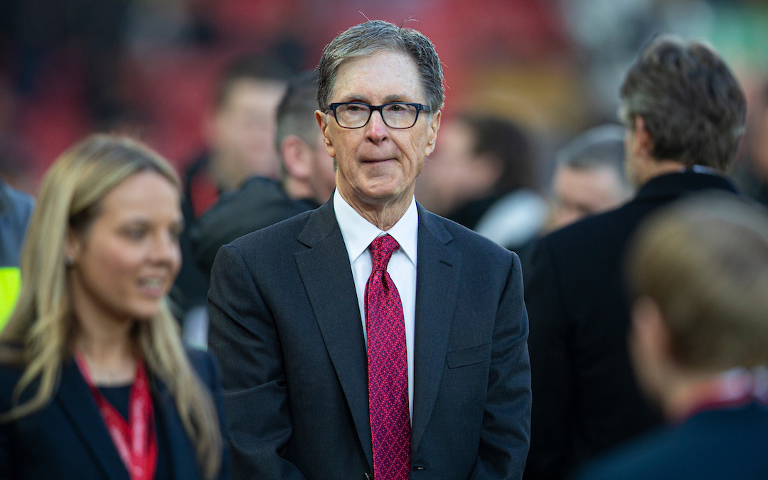 European Super League advocate and Liverpool owner John W. Henry pictured before the FA Premier League match between Liverpool FC and Manchester United FC at Anfield.