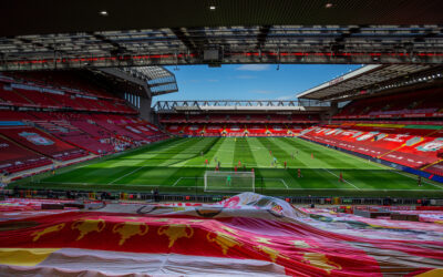 Sunday, July 5, 2020: A general view during the FA Premier League match between Liverpool FC and Aston Villa FC at Anfield. The game was played behind closed doors due to the UK government's social distancing laws during the Coronavirus COVID-19 Pandemic.