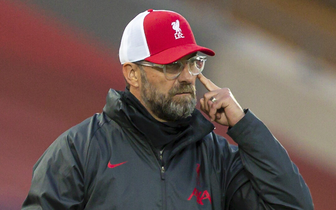 Saturday, September 12, 2020: Liverpool's manager Jürgen Klopp reacts during the opening FA Premier League match between Liverpool FC and Leeds United FC at Anfield. The game was played behind closed doors due to the UK government's social distancing laws during the Coronavirus COVID-19 Pandemic. Liverpool won 4-3.