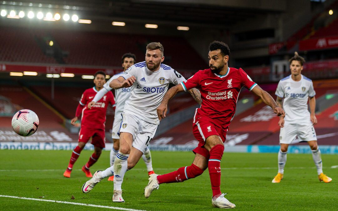 Saturday, September 12, 2020: Liverpool's Mohamed Salah (R) and Leeds United's Stuart Dallas during the opening FA Premier League match between Liverpool FC and Leeds United FC at Anfield. The game was played behind closed doors due to the UK government's social distancing laws during the Coronavirus COVID-19 Pandemic. Liverpool won 4-3.