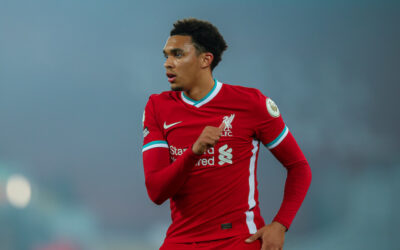 Liverpool's Trent Alexander-Arnold during the FA Premier League match between Liverpool FC and Arsenal FC at Anfield