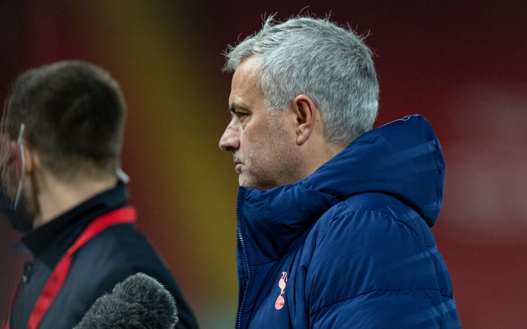 Tottenham Hotspur's manager Jose Mourinho is probably not a European Super League fan interviewed after the FA Premier League match between Liverpool FC and Tottenham Hotspur FC at Anfield.