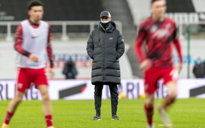 Liverpool's manager Jürgen Klopp during the pre-match warm-up before the FA Premier League match between Newcastle United FC and Liverpool FC at St. James' Park. The game ended in a goal-less draw.