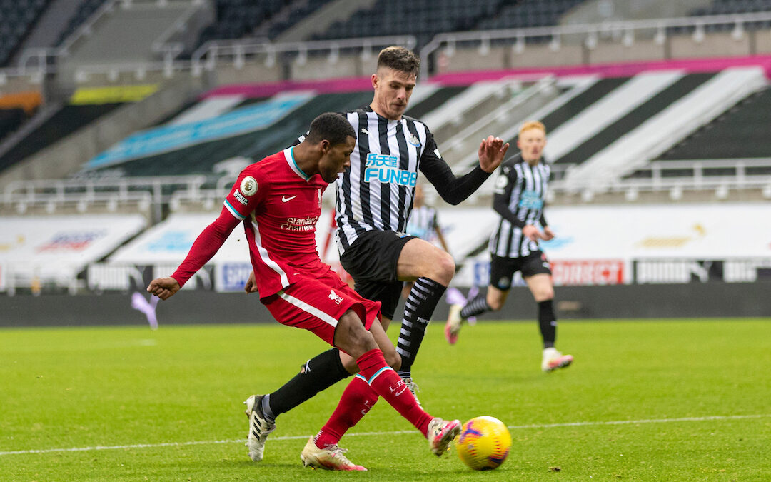 Liverpool's Georginio Wijnaldum crosses the ball during the FA Premier League match between Newcastle United FC and Liverpool FC at St. James' Park. The game ended in a goal-less draw.