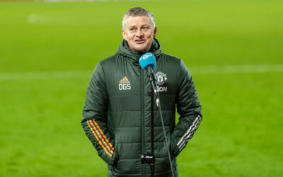Sunday, January 17, 2021: Manchester United's manager Ole Gunnar Solskjær is interviewed by BBC Radio 5 Live after the FA Premier League match between Liverpool FC and Manchester United FC at Anfield. The game ended in a 0-0 draw.