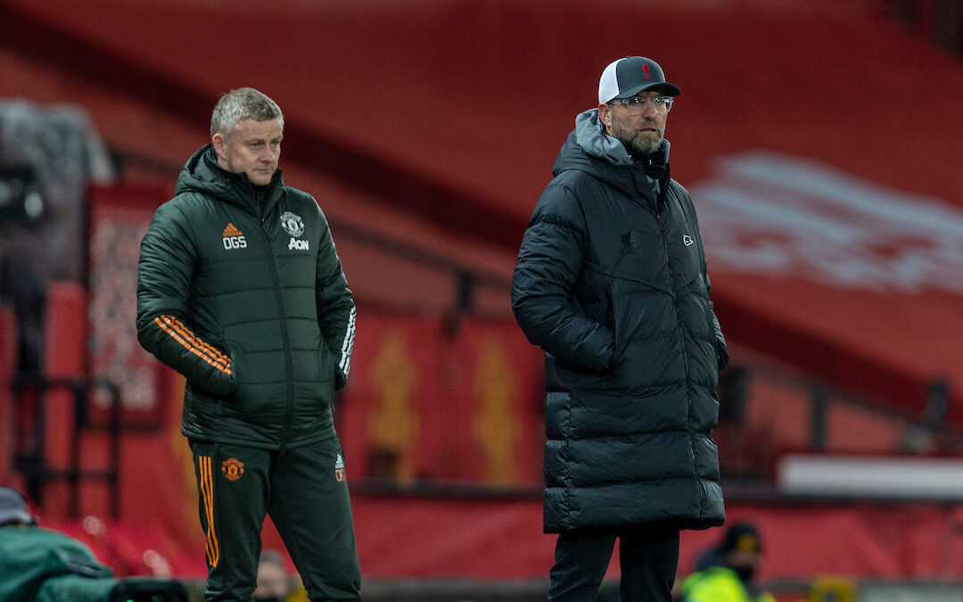 Liverpool's manager Jürgen Klopp (R) and Manchester United's manager Ole Gunnar Solskjær during the FA Cup 4th Round match between Manchester United FC and Liverpool FC at Old Trafford. Manchester United won 3-2.