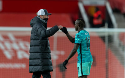 Liverpool's manager Jürgen Klopp fist bumps Sadio Mané after the FA Cup 4th Round match between Manchester United FC and Liverpool FC at Old Trafford. Manchester United won 3-2.