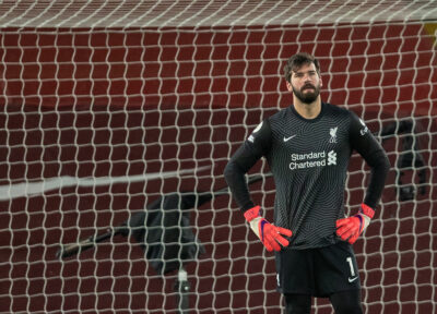 Sunday, February 7, 2021: Liverpool's goalkeeper Alisson Becker looks dejected as Manchester City score the third goal during the FA Premier League match between Liverpool FC and Manchester City FC at Anfield. Manchester City won 4-1.