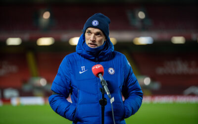 Thursday, March 4, 2021: Chelsea's manager Thomas Tuchel gives an interview to BBC Radio 5 Live after the FA Premier League match between Liverpool FC and Chelsea FC at Anfield. Chelsea won 1-0 condemning Liverpool to their fifth consecutive home defeat for the first time in the club's history.